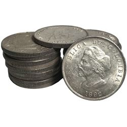Large lot of 20 Colombian 50 centavos, 1892, Columbus commemorative, small-diameter bust.