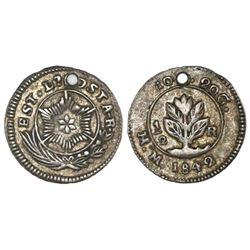 Costa Rica, 1/2 real, 1842MM, Carrillo.