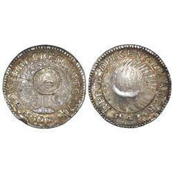 "Costa Rica, 1/2 real, ""lion"" countermark (Type VI, 1849-57) on a Costa Rica (Central American Republ"