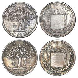 Lot of two Costa Rica 1/4 peso 1850JB.