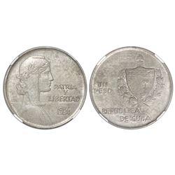 "Cuba (struck at the Philadelphia mint), ""ABC"" peso, 1934, NGC MS 62."