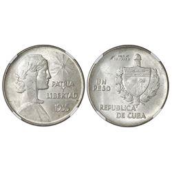 "Cuba (struck at the Philadelphia mint), ""ABC"" peso, 1935, NGC MS 62."