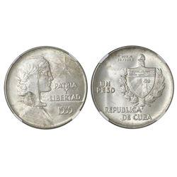 "Cuba (struck at the Philadelphia mint), ""ABC"" peso, 1939, NGC MS 63."