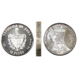Cuba, proof 10 pesos piefort, 1990, 11th Pan-American Games (Havana '91) - Baseball, NGC PF 66 Ultra