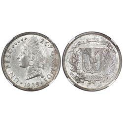 Dominican Republic (struck in Philadelphia), 1 peso, 1939, NGC AU 58, ex-Rudman.