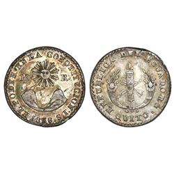 Quito, Ecuador, 1/2 real, 1838ST, NGC XF details / reverse scratched.