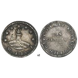 Quito, Ecuador, 1/4 real, 1843MV.