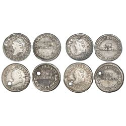 Lot of four Quito, Ecuador, 1/4R: 1852GJ (2), 1856GJ (2).