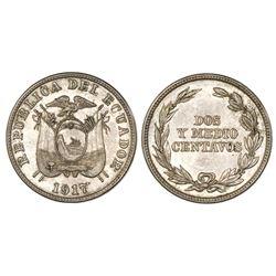 Ecuador (struck in Philadelphia), copper-nickel 2-1/2 centavos, 1917, NGC MS 62.