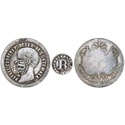 """El Salvador, 1/2 real, """"R"""" in beaded-circle countermark (Type IV, 1862-63) on a Guatemala 1/2 real 1"""