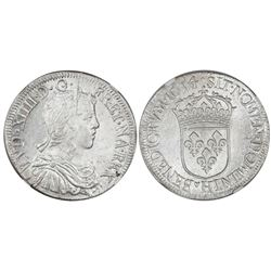 France (La Rochelle mint), 1/2 ecu, Louis XIV, 1654-H, NGC MS 63, finest and only example in NGC cen
