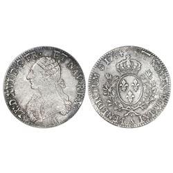 France (Paris mint), ecu, Louis XVI, 1784-A, dot, second semester, PCGS MS 63.