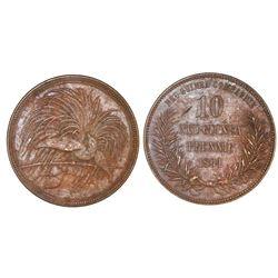 German New Guinea (struck at the Berlin mint), bronze 10 pfennig, 1894-A, NGC AU 55 BN.