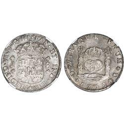 Guatemala, pillar 8 reales, Ferdinand VI, 1758J, NGC AU 58, ex-Richard Stuart (stated on label).
