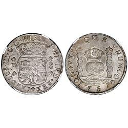 Guatemala, pillar 8 reales, Charles III, 1767P, NGC AU 53.