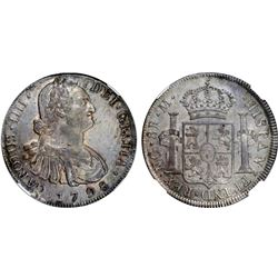 Guatemala, bust 8 reales, Charles IV, 1798M, NGC MS 62, finest known in NGC census, ex-Richard Stuar