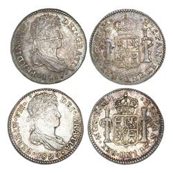 Lot of two Guatemala bust 1R, Ferdinand VII, assayer M: 1818 and 1820.