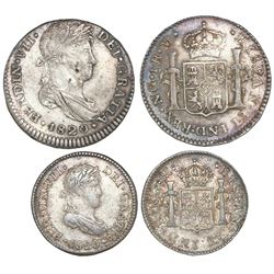 Lot of two Guatemala, bust coins of Ferdinand VII, 1820M: 1 real and 1/2 real.