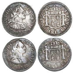 Lot of two Guatemala bust 1/2R, Charles IV, 1791M.