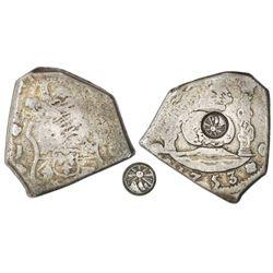 Guatemala, 8 reales, sun-over-mountains countermark (Type II, 1839) on a Guatemala cob 8 reales, 175