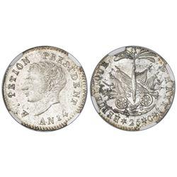 Haiti, 25 centimes, An 14 (1817), Petion (small head), NGC MS 65, ex-Rudman.