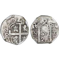 "Tegucigalpa, Honduras, provisional ""imitation cob"" 2 reales, 1824-PMPY, rare, NGC VF 25, ex-Richard"
