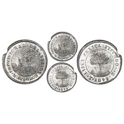 Tegucigalpa, Honduras, low silver 4 reales (provisional), 1849G, NGC AU 53.