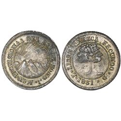 Tegucigalpa, Honduras, low silver 4 reales (provisional), 1851G, NGC XF 40.