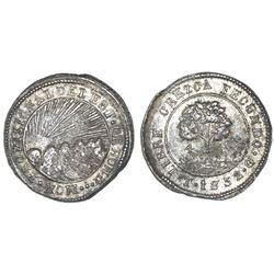 Tegucigalpa, Honduras, very low silver 4 reales (provisional), 1852G, NGC AU 50.