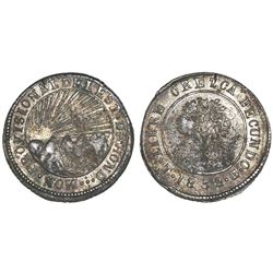 Tegucigalpa, Honduras, very low silver 4 reales (provisional), 1852G, NGC VF 35.