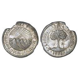 Tegucigalpa, Honduras, low silver 2 reales (provisional), 1832F, NGC XF details / damaged.