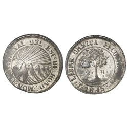 Tegucigalpa, Honduras, low silver 2 reales (provisional), 1845G, NGC XF 45.