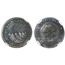 Tegucigalpa, Honduras, very low silver 1 real (provisional), 1851G, NGC XF 45.
