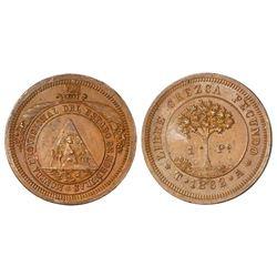 Tegucigalpa, Honduras, bronze pattern 1 peso, 1862A.