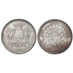 Honduras, 25 centavos, 1871, NGC AU 55.