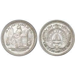 Honduras, 25 centavos, 1884, NGC AU 55, ex-Roberts (stated on label).