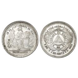 Honduras, 25 centavos, 1885, JL on castle flags, NGC AU 55.
