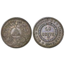 Honduras, 10 centavos, 1893/83, NGC AU details / reverse damage, ex-Carter (stated on label).