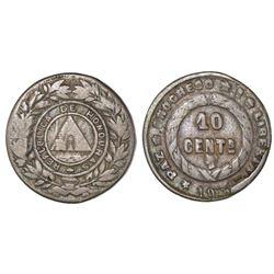 Honduras, 10 centavos, 1900, doubled-die obverse and reverse, broken U in REPUBLICA, NGC F 15.
