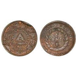 Honduras, bronze 1 centavo, 1910, 5c obverse and reverse die, NGC MS 63 BN.