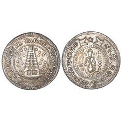 Madras, India, 1/4 pagoda, no date (1808), garter, eighteen stars, NGC XF 45.