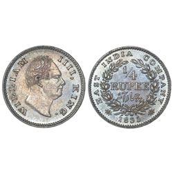 Calcutta, India (British), 1/4 rupee, William IV, 1835(C ), incuse F on bust truncation, nineteen be