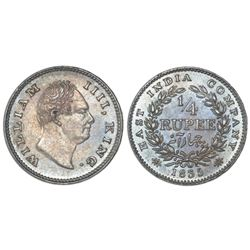 Calcutta, India (British), 1/4 rupee, William IV, 1835(C ), incuse F on bust truncation, nineteen be