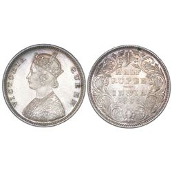Bombay, India (British), 1/2 rupee, Victoria, 1862(B&M), four-and-a-half panels, slant-top 1, NGC MS