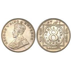 Calcutta, India (British), copper-nickel 8 annas, George V, 1919(C ), NGC AU details / cleaned.