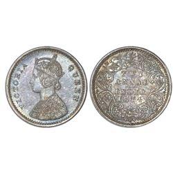 Bombay, India (British), 2 annas, Victoria, 1874(B), NGC MS 63.
