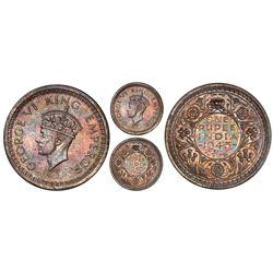 Lahore, India (British), original proof rupee, 1945-L, George VI, normal 5, PCGS PR65, finest and on