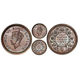 Lahore, India (British), original proof 1/2 rupee, 1945-L, George VI, large 5, PCGS PR65.