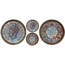 Lahore, India (British), original proof 1/4 rupee, 1945-L, George VI, normal 5, PCGS PR65, finest an