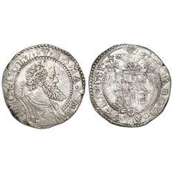 Naples (Italian States), 1/2 ducato, Charles I (struck 1548-56), IBR monogram to left of bust.
